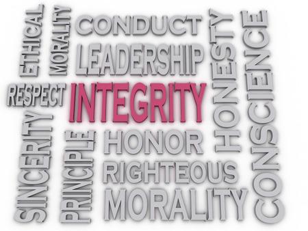 integridad: 3d imagen Integridad palabra nube concepto de fondo
