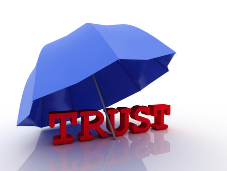 trustworthiness: 3d imagen Trust concept, isolated on white background.