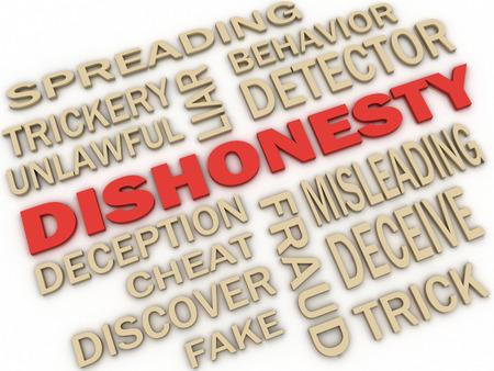 3d imagen Dishonesty concept word cloud background