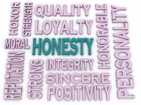 honorable: 3d imagen Honesty concept in word tag cloud on white background Stock Photo