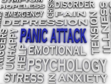 panic attack: 3d imagen Panic attack  issues concept word cloud background