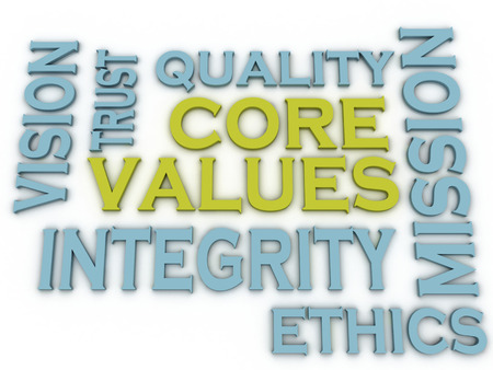 leadership qualities: 3d imagen Core values issues and concepts word cloud background