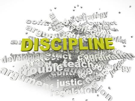 disciplina: Disciplina imagen 3d emite concepto de nube de palabras de fondo