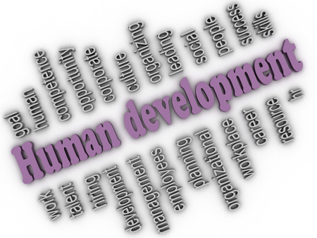 3d imagen Human development concept word cloud background photo