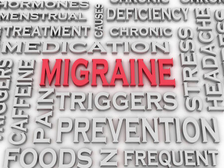 3d word: 3d imagen Migraine issues and concepts word cloud background Stock Photo