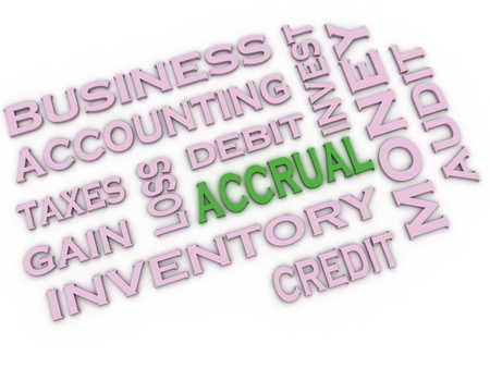 cash cycle: 3d image Accrual issues concept word cloud background