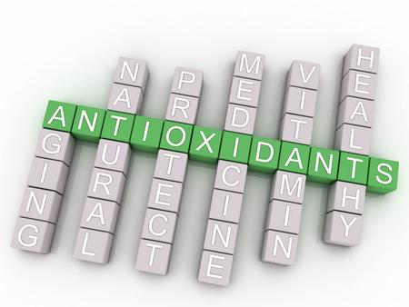 Immagine 3D Antiossidanti emette concetto della nube di parola di fondo