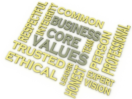 common vision: 3d imagen Business core values  issues concept word cloud background Stock Photo