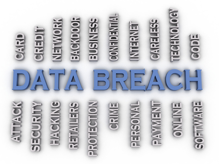 incursion: 3d image Data Breach issues concept word cloud background