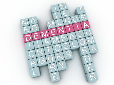 insanity: 3d image Dementia issues concept word cloud background