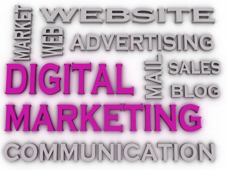 marketers: 3d imagen Digital Marketing  issues concept word cloud background Stock Photo