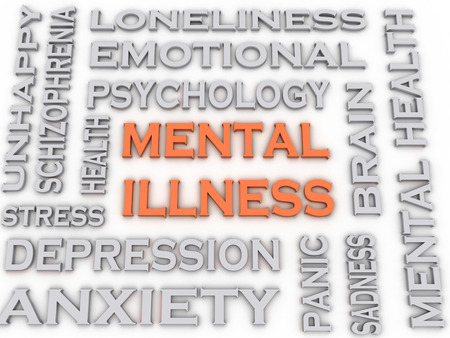 3d image Mental illness issues concept word cloud background Banco de Imagens