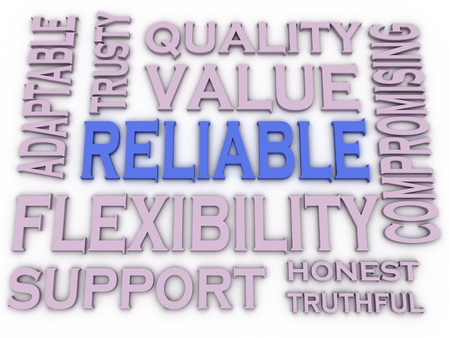 3d imagen Reliable issues concept word cloud background photo