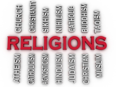 agnosticism: 3d image Major religions of the world issues concept word cloud background Stock Photo