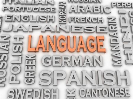 linguistics: 3d image Language issues concept word cloud background