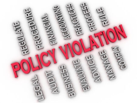 violating: 3d image Policy Violation issues concept word cloud background