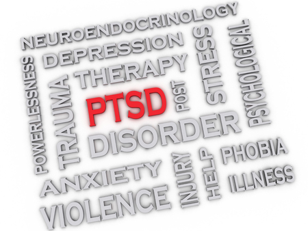 traumatic: 3d image PTSD - Posttraumatic Stress Disorder issues concept word cloud background