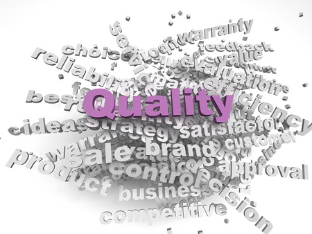 satisfactory: 3d imagen Quality concept word cloud background Stock Photo