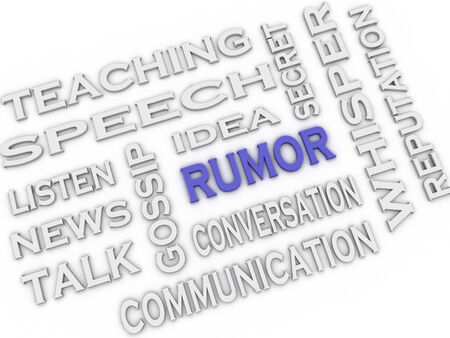 rumor: 3d image Rumor issues concept word cloud background