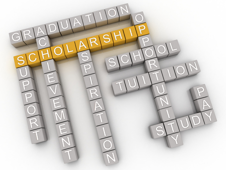 scholarship: 3d imagen Scholarship issues and concepts word cloud background Stock Photo