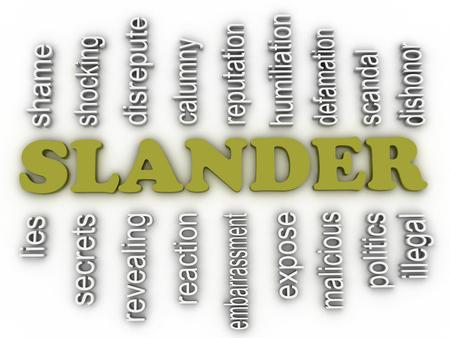 discredit: 3d image Slander issues concept word cloud background