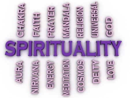 3d image Spirituality issues concept word cloud background