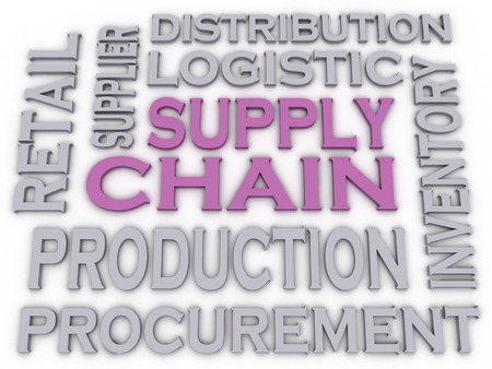 retail chain: 3d imagen Supply Chain  issues concept word cloud background Stock Photo