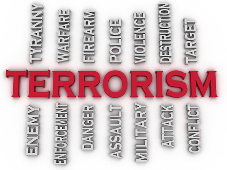 tyranny: 3d image Terrorism issues concept word cloud background