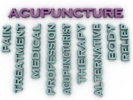 acupuntura china: Acupuntura imagen 3d emite palabra nube concepto de fondo