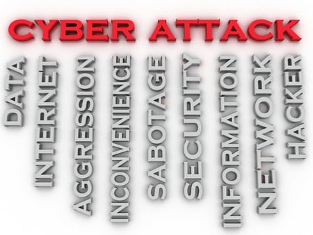 3d image Cyber attack issues concept word cloud background 版權商用圖片