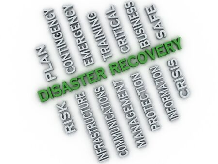 disaster recovery: 3d image Disaster recovery  issues concept word cloud background Stock Photo
