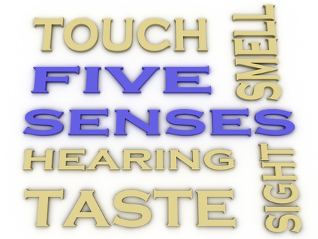 3d image Five senses  issues concept word cloud background photo