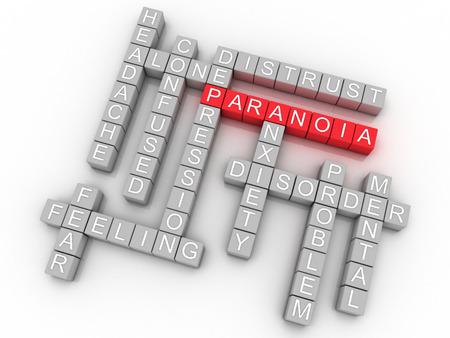 paranoia: Immagine 3D Paranoia emette concetto della nube di parola di fondo