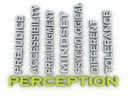 perceptie: 3d beeld Perception uitgeeft begrip woord wolk achtergrond