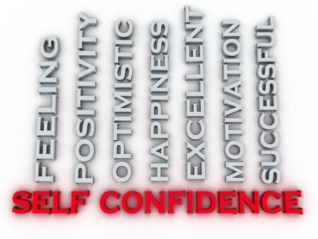 self confidence: 3d image self confidence issues concept word cloud background