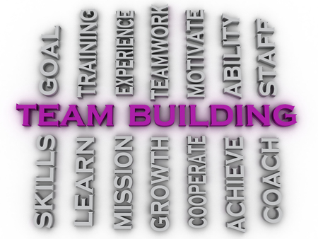 3d image team building  issues concept word cloud background photo