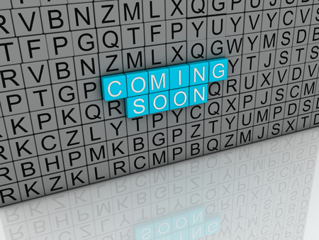 coming soon: 3d image Coming Soon concept text on white background Stock Photo