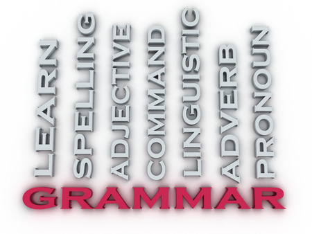 grammar: 3d image Grammar  issues concept word cloud background. Learning Concept
