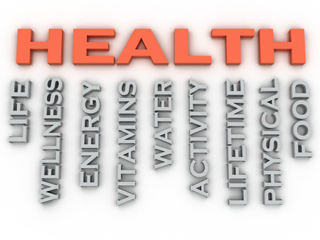 3d image HEALTH  issues concept word cloud background photo