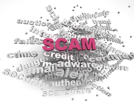 scamming: 3d image Scam  issues concept word cloud background