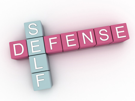 defensa personal: 3d imagen Autodefensa emite concepto de nube de palabras de fondo Foto de archivo
