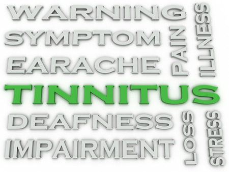 dolor de oido: 3d imagen Tinnitus emite concepto de nube de palabras de fondo Foto de archivo