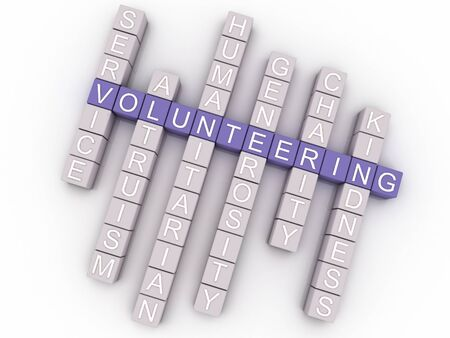 volunteering: 3d image Volunteering  issues concept word cloud background