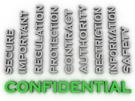 underhand: 3d image confidential  issues concept word cloud background Stock Photo