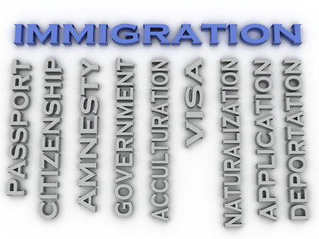 escaping: 3d image Immigration  issues concept word cloud background