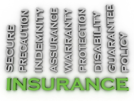 surety: 3d image Insurance  issues concept word cloud background