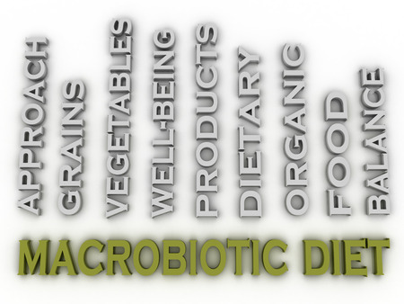 macrobiotic: 3d image macrobiotic diet  issues concept word cloud background Stock Photo
