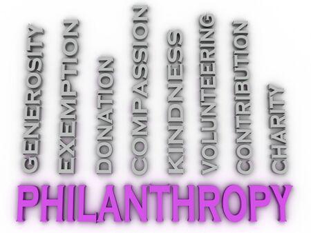 generosidad: Imagen 3d Filantropía emite concepto de nube de palabras de fondo Foto de archivo