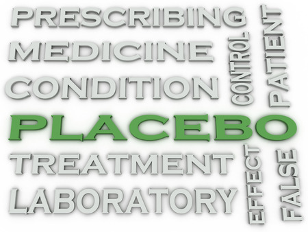 placebo: 3d image placebo treatment   issues concept word cloud background Stock Photo