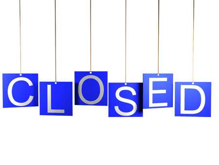 shop sign: 3d shop sign closed on white background